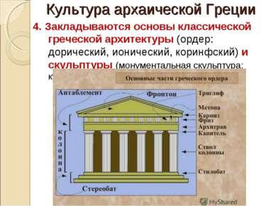Культура архаической Греции 4. Закладываются основы классической греческой ар...