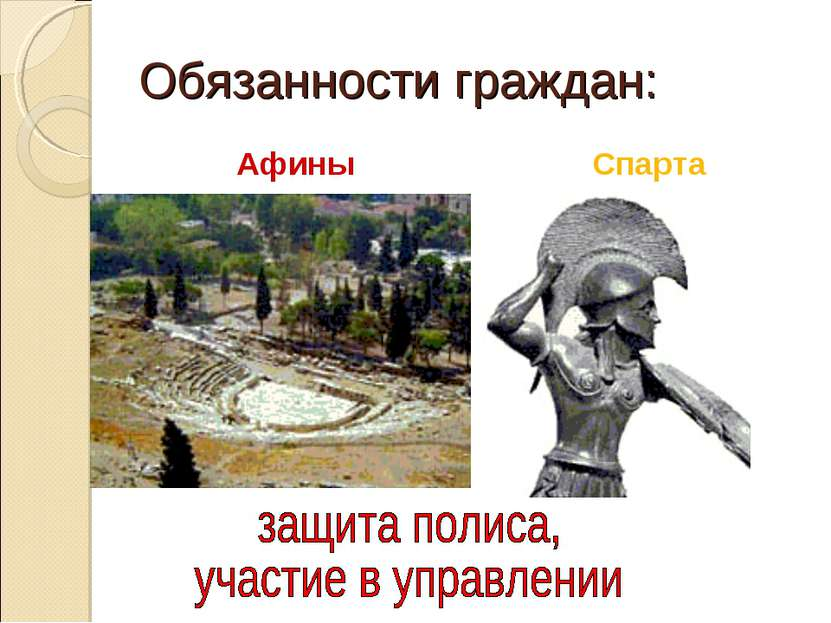 Обязанности граждан: Афины Спарта