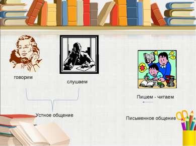 говорим слушаем Пишем - читаем Устное общение Письменное общение