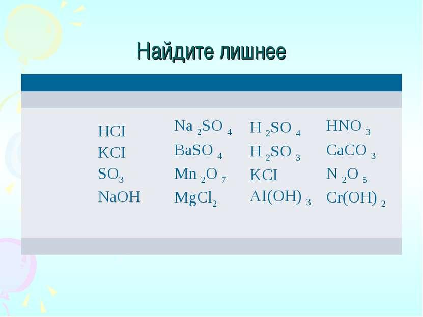 Найдите лишнее HCI KCI SO3 NaOH Na 2SO 4 BaSO 4 Mn 2O 7 MgCl2 H 2SO 4 H 2SO 3...