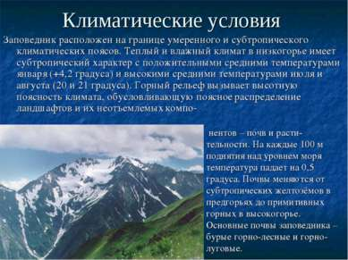 Климатические условия Заповедник расположен на границе умеренного и субтропич...