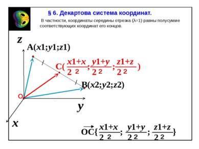 A(x1;y1;z1) x z y B(x2;y2;z2) В частности, координаты середины отрезка (λ=1) ...
