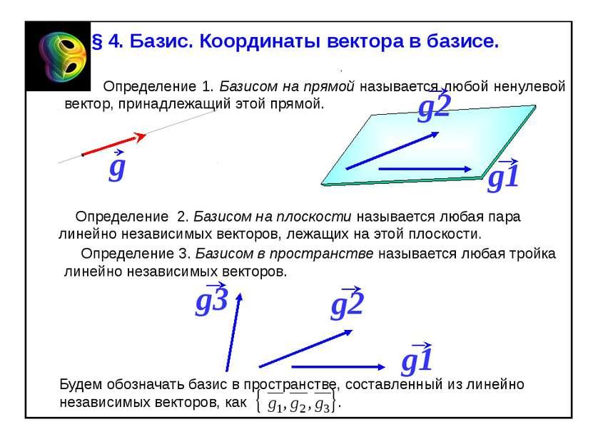 § 4. Базис. Координаты вектора в базисе. Определение 1. Базисом на прямой наз...