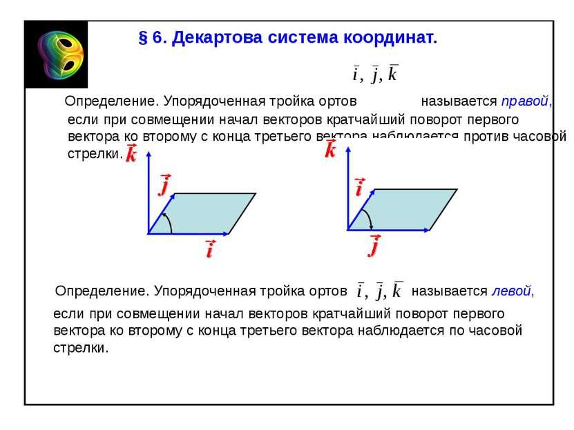 § 6. Декартова система координат. Определение. Упорядоченная тройка ортов наз...