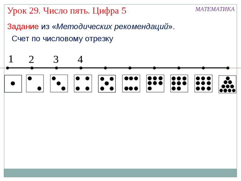 Счет по числовому отрезку 1 2 3 4 МАТЕМАТИКА Урок 29. Число пять. Цифра 5 Зад...