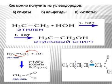 Как можно получить из углеводородов: а) спирты б) альдегиды в) кислоты?