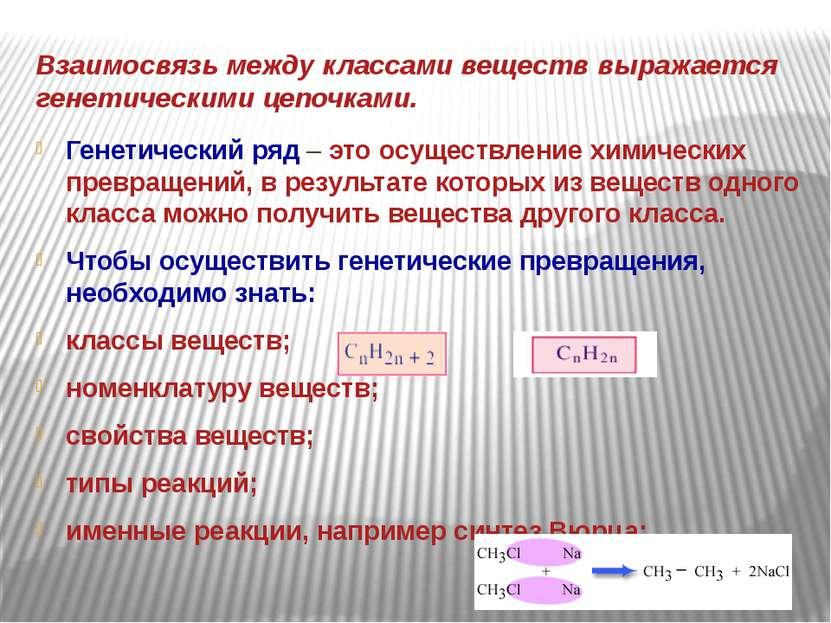 Взаимосвязь между классами веществ выражается генетическими цепочками. Генети...