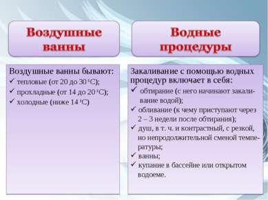 Воздушные ванны бывают: тепловые (от 20 до 30 0 С); прохладные (от 14 до 20 0...