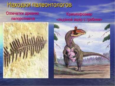 Находки палеонтологов Криолофозавр «ледяной ящер с гребнем» Отпечатки древних...