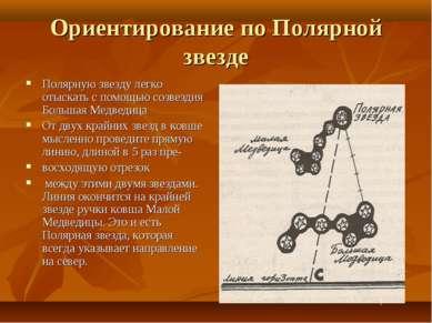 Ориентирование по Полярной звезде Полярную звезду легко отыскать с помощью со...