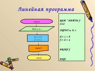 Линейная программа начало ввод a, b, c d:= c + b f:= d + a вывод f конец REM ...