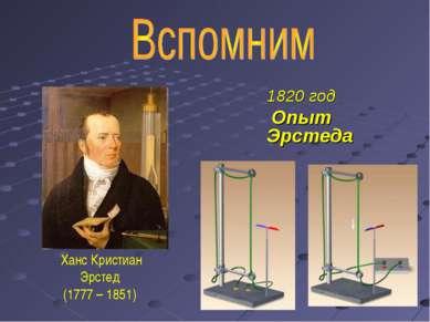 1820 год Опыт Эрстеда Ханс Кристиан Эрстед (1777 – 1851)