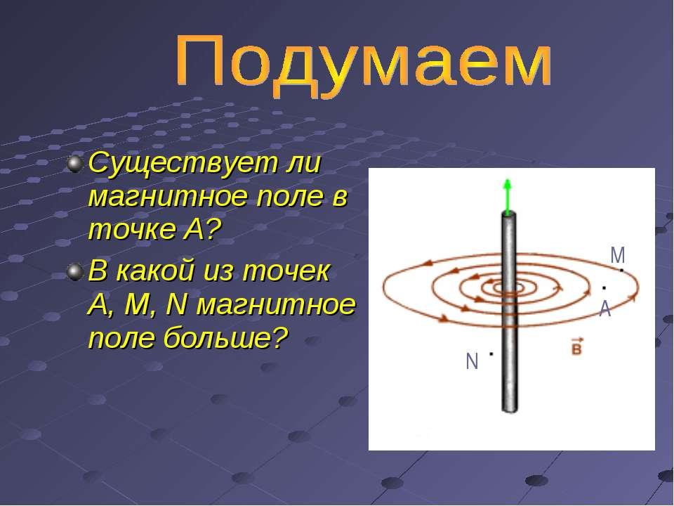 Существует ли магнитное поле в точке А? В какой из точек А, М, N магнитное по...