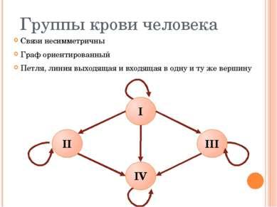 Группы крови человека Связи несимметричны Граф ориентированный Петля, линия в...