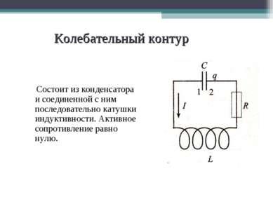 Колебательный контур Состоит из конденсатора и соединенной с ним последовател...