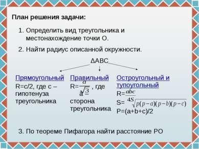 План решения задачи: Определить вид треугольника и местонахождение точки О. Н...