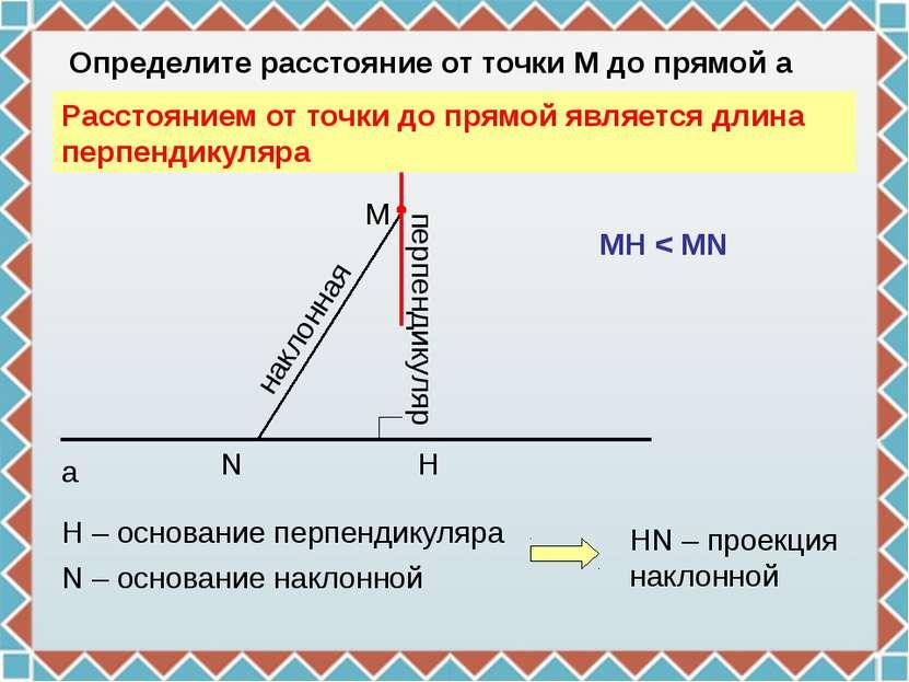 N H M a Определите расстояние от точки М до прямой а перпендикуляр Н – основа...