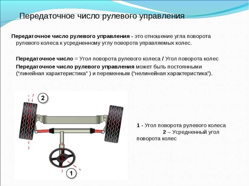Передаточное число рулевого управления Передаточное число рулевого управления...