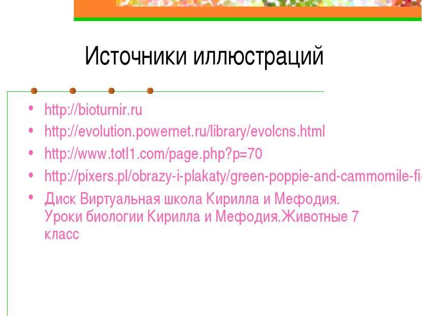 Источники иллюстраций http://bioturnir.ru http://evolution.powernet.ru/librar...