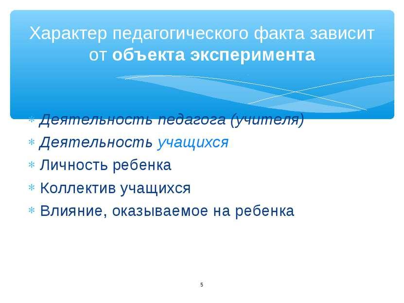 Деятельность педагога (учителя) Деятельность учащихся Личность ребенка Коллек...