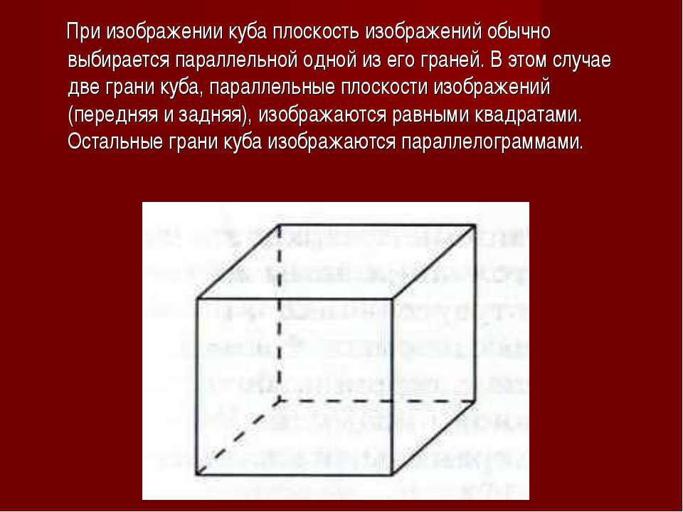 При изображении куба плоскость изображений обычно выбирается параллельной одн...