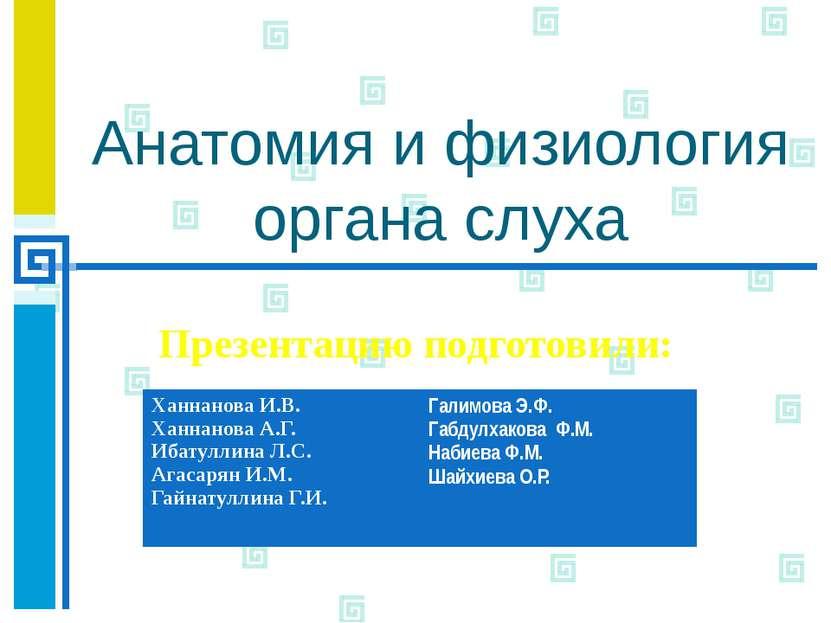 Анатомия и физиология органа слуха Презентацию подготовили: ХаннановаИ.В. Хан...