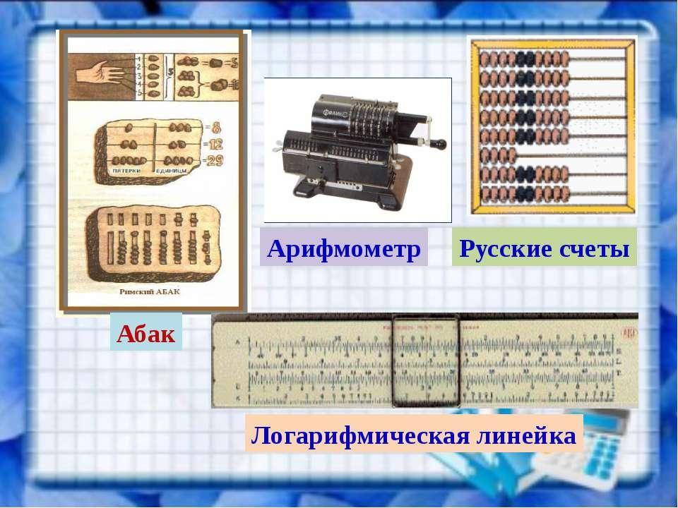 Абак Русские счеты Арифмометр Логарифмическая линейка