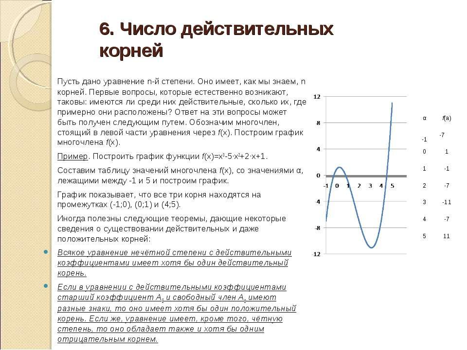 6. Число действительных корней Пусть дано уравнение n-й степени. Оно имеет, к...