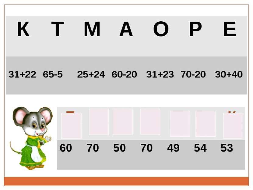 К Т М А О Р Е 31+22 65-5 25+24 60-20 31+23 70-20 30+40 Т Е Р Е М О К 60 70 50...