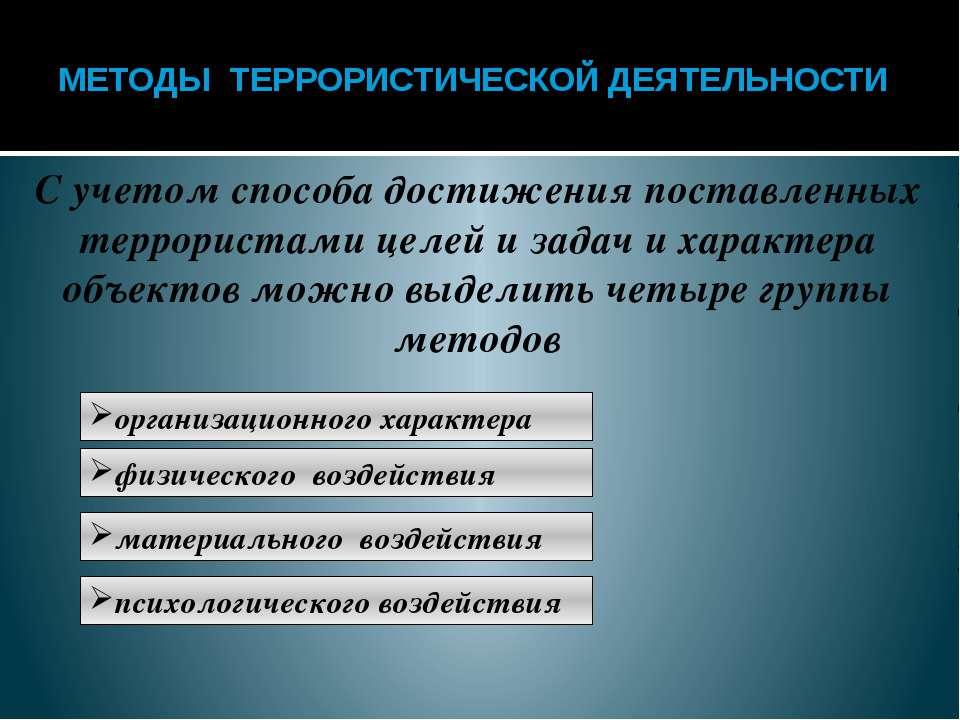 Методы физического воздействия Эти воздействия на людей связаны с прямым физи...