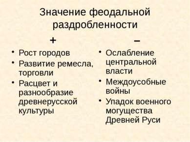 Значение феодальной раздробленности + Рост городов Развитие ремесла, торговли...