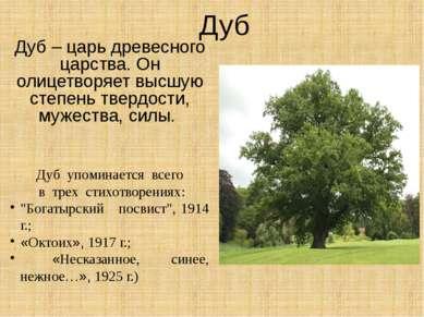 Дуб Дуб – царь древесного царства. Он олицетворяет высшую степень твердости, ...