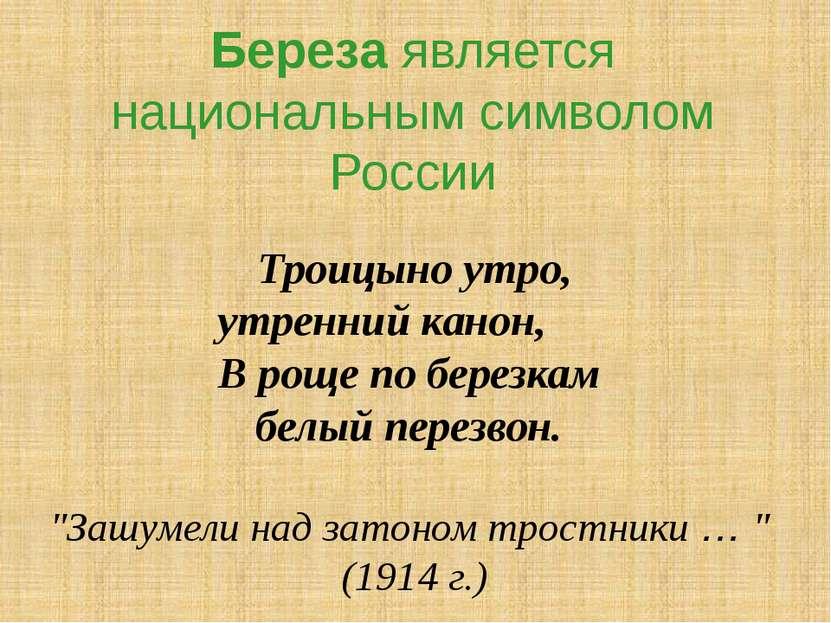 Береза является национальным символом России Троицыно утро, утренний канон, В...