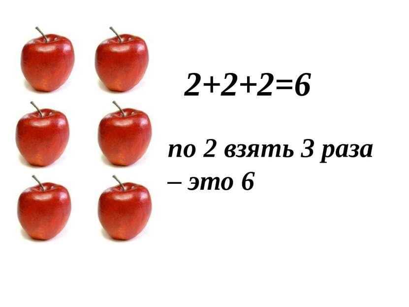 2+2+2=6 по 2 взять 3 раза – это 6