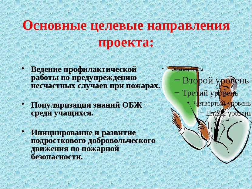 Основные целевые направления проекта: Ведение профилактической работы по пред...