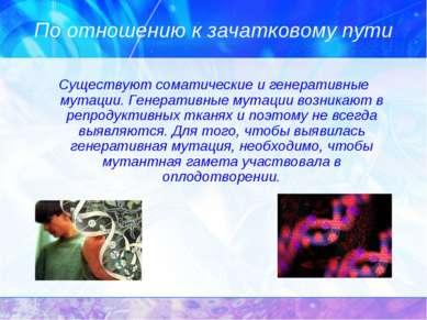 По отношению к зачатковому пути Существуют соматические и генеративные мутаци...
