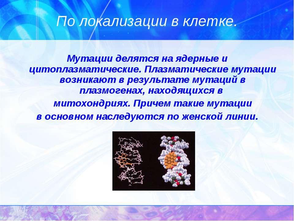 По локализации в клетке. Мутации делятся на ядерные и цитоплазматические. Пла...