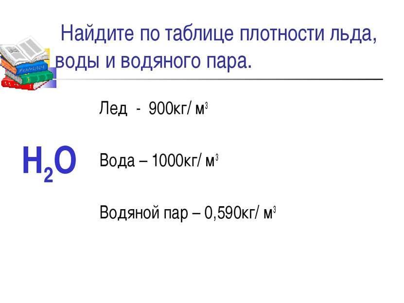 Найдите по таблице плотности льда, воды и водяного пара. Лед - 900кг/ м3 Вода...
