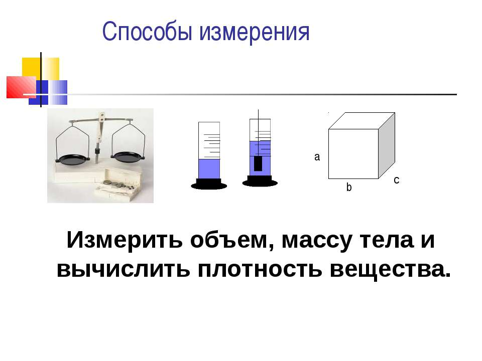 Способы измерения а b c Измерить объем, массу тела и вычислить плотность веще...