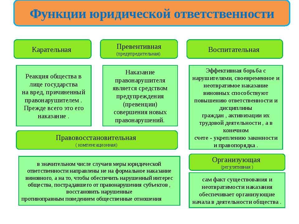 Функции юридической ответственности Карательная Реакция общества в лице госуд...