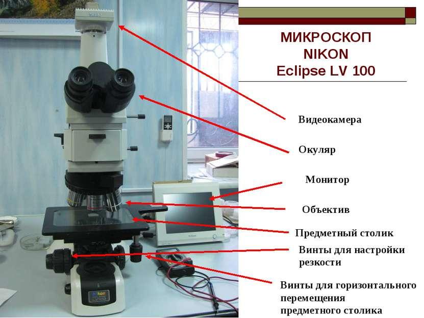 МИКРОСКОП NIKON Eclipse LV 100 Видеокамера Окуляр Предметный столик Объектив ...