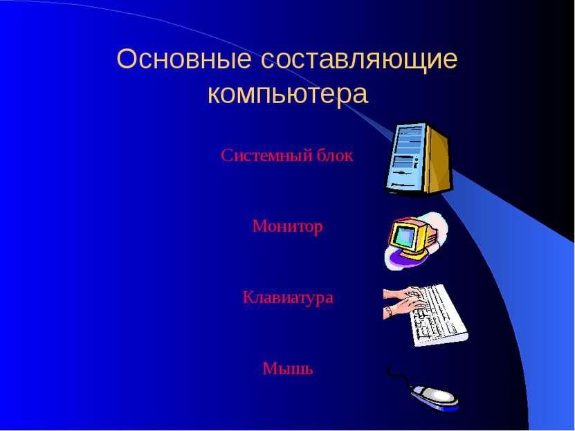 начальная школа Основные составляющие компьютера Системный блок Монитор Клави...