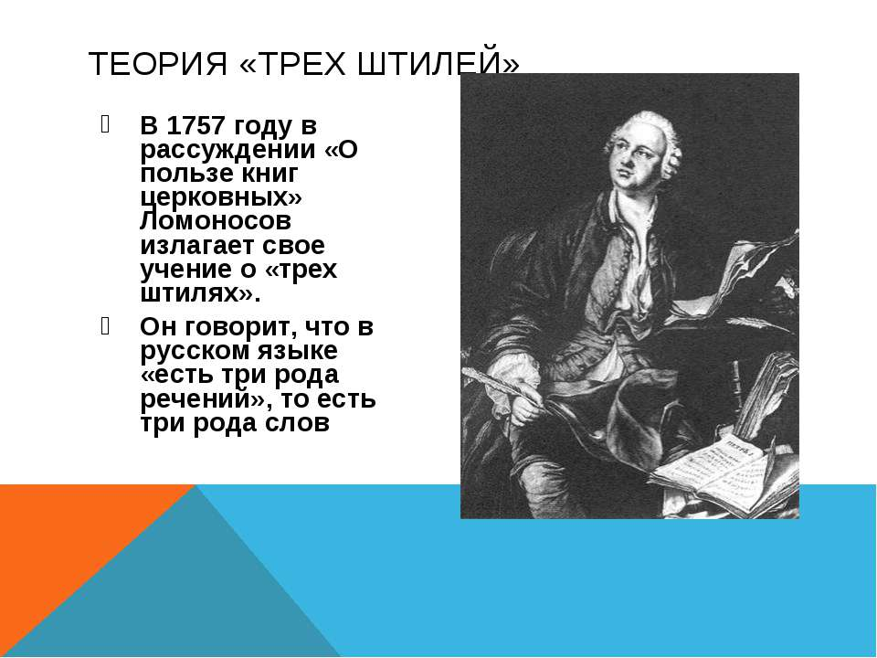 В 1757 году в рассуждении «О пользе книг церковных» Ломоносов излагает свое у...