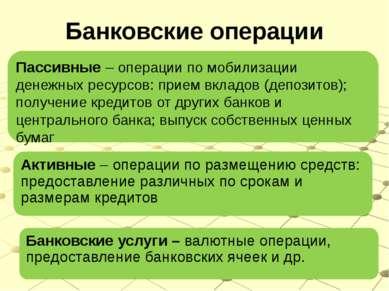 Банковские операции Пассивные – операции по мобилизации денежных ресурсов: пр...