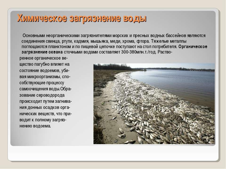 Химическое загрязнение воды Основными неорганическими загрязнителями морских ...