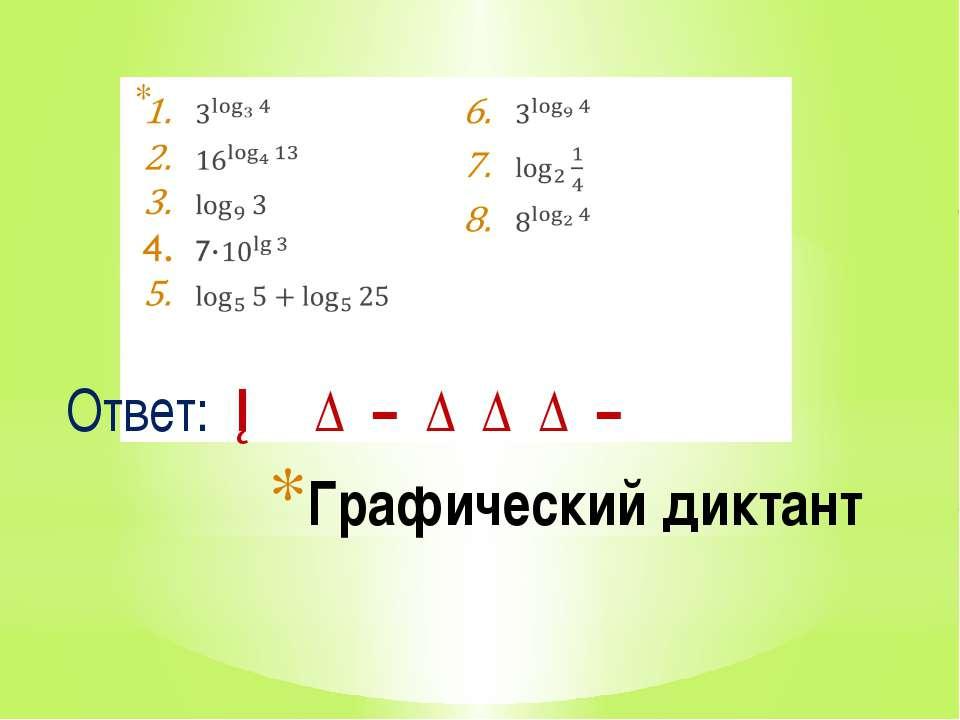 Графический диктант Ответ: ─ ∆ − ∆ ∆ ∆ −