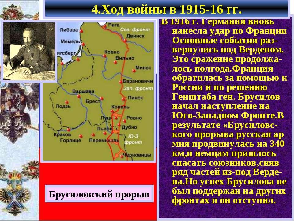 4.Ход войны в 1915-16 гг. В 1916 г. Германия вновь нанесла удар по Франции Ос...