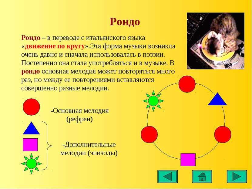 Рондо Рондо – в переводе с итальянского языка «движение по кругу».Эта форма м...
