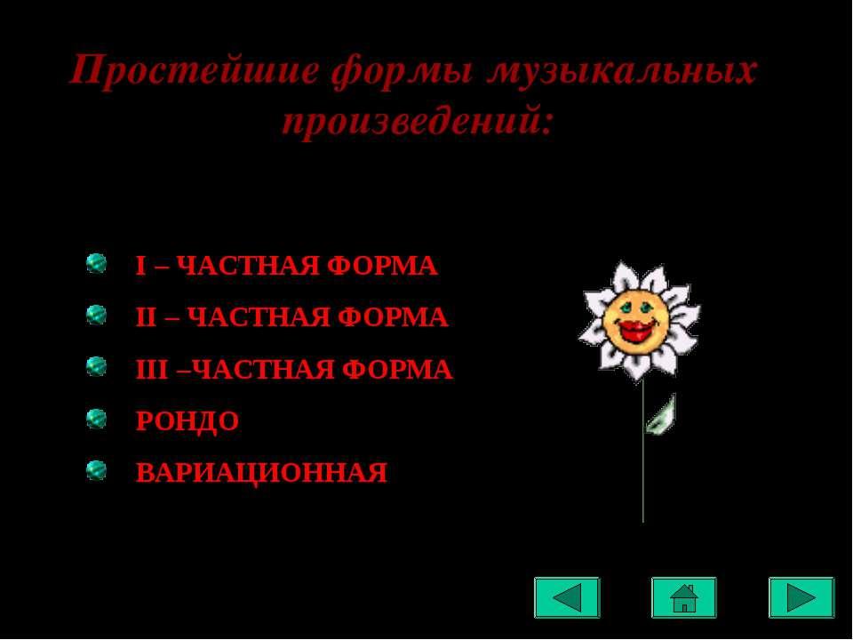 Простейшие формы музыкальных произведений: I – ЧАСТНАЯ ФОРМА II – ЧАСТНАЯ ФОР...