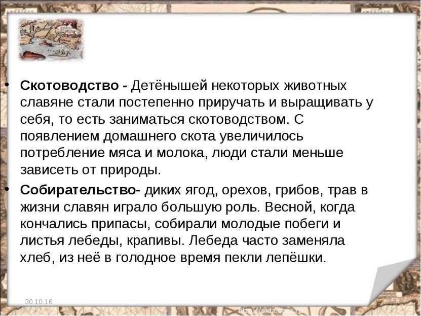 * * Скотоводство - Детёнышей некоторых животных славяне стали постепенно прир...